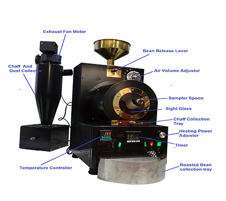 Max capacity 600g electricity heating small coffee roaster machine